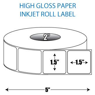 "1.5"" x 1.5"" High Gloss Inkjet Roll Label - 2"" ID Core, 5"" OD"