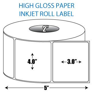 "4"" x 3"" High Gloss Inkjet Roll Label - 2"" ID Core, 5"" OD"