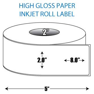 "2"" x 8"" High Gloss Inkjet Roll Label - 2"" ID Core, 5"" OD"