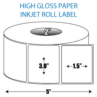 "3"" x 1.5"" High Gloss Inkjet Roll Label - 2"" ID Core, 5"" OD"