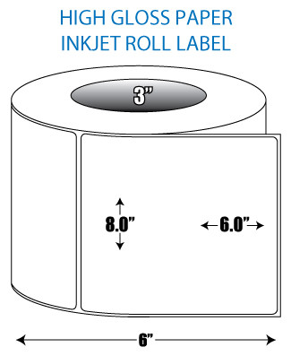 "8"" x 6"" High Gloss Inkjet Roll Label - 3"" ID Core, 6"" OD"
