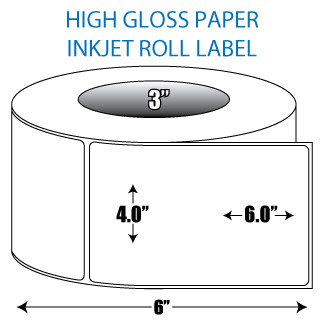"4"" x 6"" High Gloss Inkjet Roll Label - 3"" ID Core, 6"" OD"