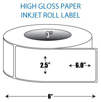 "2.5"" x 6"" High Gloss Inkjet Roll Label - 3"" ID Core, 6"" OD"