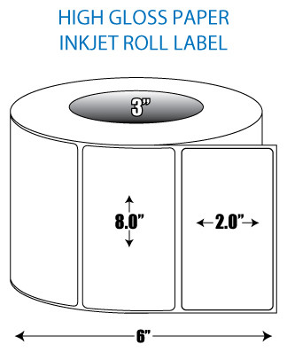 "8"" x 2"" High Gloss Inkjet Roll Label - 3"" ID Core, 6"" OD"