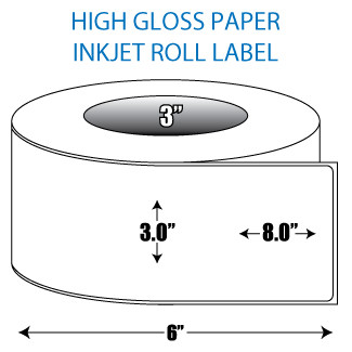 "3"" x 8"" High Gloss Inkjet Roll Label - 3"" ID Core, 6"" OD"