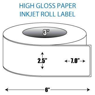"2.5"" x 7"" High Gloss Inkjet Roll Label - 3"" ID Core, 6"" OD"
