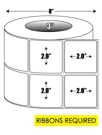 Thermal Transfer: 2 in. x 2 in. 2-up General Purpose Roll Label - 3 inch core