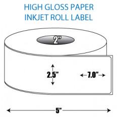 "2.5"" x 7"" High Gloss Inkjet Roll Label - 2"" ID Core, 5"" OD"