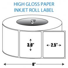 "3"" x 2.5"" High Gloss Inkjet Roll Label - 3"" ID Core, 6"" OD"