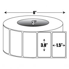 "3"" x 1.5"" High Gloss Inkjet Roll Label - 3"" ID Core, 6"" OD"