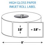 "2"" x 2"" High Gloss Inkjet Roll Label - 2"" ID Core, 5"" OD"