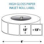 "1.5"" x 1.5"" High Gloss Inkjet Roll Label - 3"" ID Core, 6"" OD"